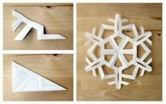 A tutorial on how to make six-sided paper snowflakes. Use them to add some beauty to your holiday decor! Lots of easy paper snowflake designs included. Paper Snowflake Designs, Snowflake Craft, Snowflake Decorations, Christmas Decorations, Snowflake Origami, Snowflake Centerpieces, Snowflake Garland, Paper Decorations, Diy Christmas Snowflakes