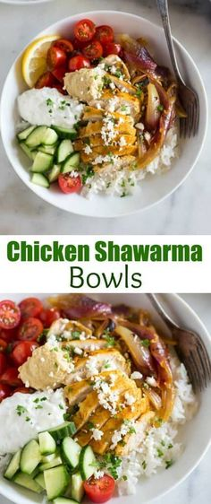 Chicken shawarama ma Chicken shawarama made from home and transformed into a delicious middle-eastern bowl! This healthy dinner is a WINNER with marinated chicken tzatziki sauce hummus chopped veggies and served over jasmine rice. Chicken Shawarma Sandwich, Shawarma Recipe, Tzatziki Sauce, Tzatziki Chicken, Schawarma Rezept, Hummus, Jasmine Rice, Family Meals, Bon Appetit