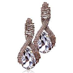 Emilia - Rhinestone Crystal Gold Drop Earrings