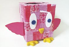 """Adorable bird box container """"vase"""" made from empty tissue box. Copyright Pamela Maxwell 2013"""