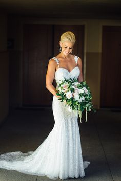 Look at that beautiful dress! View the full wedding here: http://thedailywedding.com/2016/05/08/romantic-church-wedding-allie-aris/