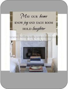 """""""May our home know joy and and each room hold laughter"""" Vinyl Lettering Wall Decal available in various sizes and vinyl colors. Perfect for inexpensive home decor."""