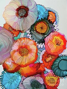Alcohol Ink Painting - Orange And Blue Bouquet by Wendy Westlake