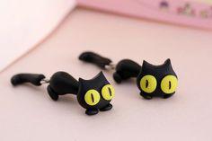 Black Cat Earrings Polymer Clay Handmade Little Kitten Tail 3D Black/Yellow Gift