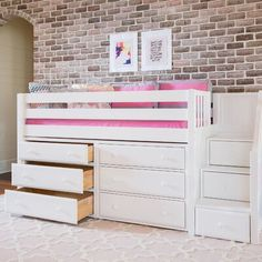 Harriet Bee Bolduc Twin Low Loft Bed with Drawers Bed Frame Color: White Double Loft Beds, Low Loft Beds, Beds For Small Spaces, Small Space Bedroom, Bunk Beds With Stairs, Kids Bunk Beds, Unique Bedroom Furniture, Bed Designs With Storage, Bunk Bed Plans