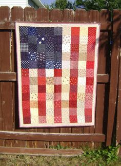 A dear friend made one like this when my husband was deployed, only it also had the Pledge of Allegiance sewn around the border.  Treasure!!
