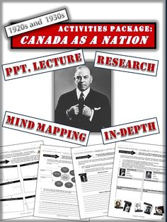 A clear and concise package that highlights Canada's growth as a nation during the 1920s.  Topics include:  - Canada's Booming Economy - Significant Individuals  - Discrimination towards Natives and Immigrants  Also includes a ppt. lecture. Other activities are research based.