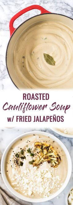 This Roasted Cauliflower Soup with Fried Jalapeños is thick, creamy and loaded with healthy veggies. It's also gluten free, paleo, vegetarian and vegan! #cauliflower #soup #paleo #glutenfree #vegan