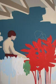 Anibal Vallejo, INTERIOR EN ASNIERES, Galerie Vivendi Acrylic paint, textile