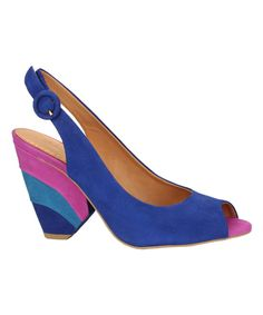 Love this Blue & Pink Wave Heel Leather Slingback by Filumena by Klimini on #zulily! #zulilyfinds