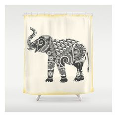 Ornate Elephant shower curtain (8,105 INR) ❤ liked on Polyvore featuring home, bed & bath, bath and shower curtains