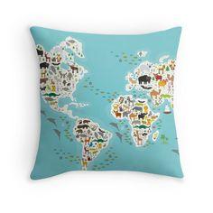 Cartoon animal world map for children Throw Pillows