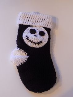 Jack Skellington Nightmare Before Christmas Stocking/ Black and White Stocking/ Hand Crocheted Red Stocking/ Christmas Gift
