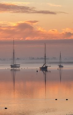 sunrise on a peaceful anchorage: England, Essex, Maldon ~ Sunrise over the Blackwater estuary. Beautiful Sunset, Beautiful World, Beautiful Places, Simply Beautiful, Boat Art, Belle Photo, Beautiful Landscapes, Wonders Of The World, Landscape Photography