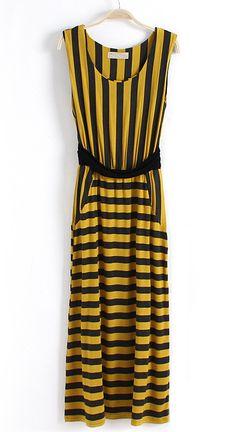 Black Yellow Striped Sleeveless Bandeau Dress - Sheinside.com