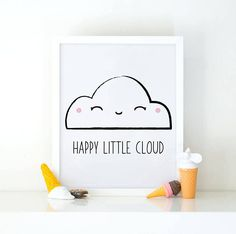 Happy little cloud Cute print perfect to decorate your nursery! ► WHAT YOU WILL GET - This listing is for an instant download printable _ Dimensions: 8x10, _ 300 dpi high resolution _ PDF and JPEG files ►How it works: 1. Purchase your chosen artwork. 2. Click 'Download', save the