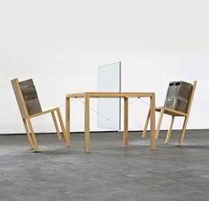 "Túlio Pinto, ""Territories"", 2013, Series: 1/3, Sculpture, chairs, table, glass slide, concrete blocks and steel cable, 131 x 100 x 200 cm, Baró Gallery – São Paulo – Brazil, Photo credit: Diego Santovito."