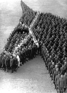 650 officers and enlisted men of Auxiliary Remount Depot No 326, a Cavalry unit, created this human representation of a horse head. WW1, 1914-1918