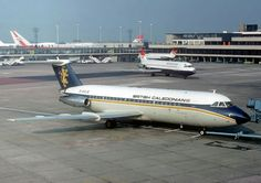 """British Caledonian British Aircraft Corporation (BAC) """"One Eleven"""" British Airline, British Airways, Manchester Airport, Old Planes, Cargo Airlines, Civil Aviation, Military Aircraft, Airplane, Flaxseed"""
