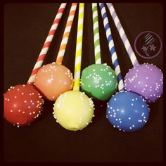 Rainbow cake pops! Rainbow Cake Pops, Tower Stand, Cakepops, Birthday Ideas, Party, Desserts, Beautiful, Food, Tailgate Desserts