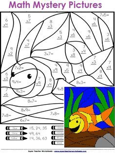 Math Mystery Pictures - Solve the basic math problems and color to reveal a hidden picture