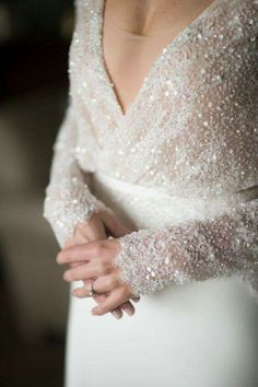 Luxe embellished v-neck wedding dress