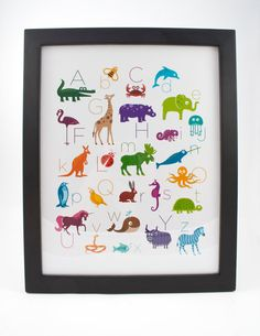 Animal Alphabet Poster Framed 11 x 14 by theIrisandtheBee on Etsy, $35.00