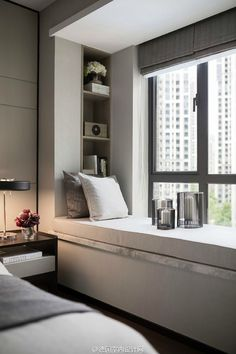 Contemporary Window Seat with build-in shelving- Love this! Always wanted a window seat. Home Bedroom, Modern Bedroom, Bedroom Decor, Night Bedroom, Bedroom Classic, Modern Beds, White Bedrooms, Guest Bedrooms, Dream Bedroom