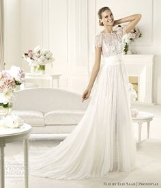 elie by elie saab 2013 pronovias lorraine short sleeve lace wedding dress
