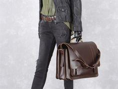 Aktentasche mit 3 Fächern Leder Herren Damen Schultasche Lehrertasche Businesstasche Tasche Umhängetasche braun