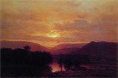 Sunset - George Inness 조지이네스 토날리즘(어두운 색의 계열로 블러효과를 주면서 풍경을 그리는 기법) 풍경화 유화 1865년작