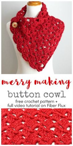 Merry Making Button Cowl, free crochet pattern + full video tutorial on Fiber Flux The Merry Making Button Cowl is a wrap style cowl in a chunky lace pattern. Easy and fast crochet scarf pattern Crochet Ruana Pattern: Rockin-It Ruana Crochet Cowl Free Pattern, Crochet Poncho, Crochet Beanie, Crochet Scarves, Crochet Stitches, Free Crochet, Crochet Patterns For Scarves, Chunky Crochet Scarf, Crochet Buttons