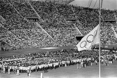 1972 - The Olympic flag at half mast in memory of slain Israeli athletes - Keystone/Getty Images