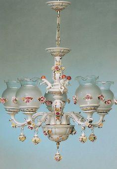 Italian Capodimonte chandelier. Sweet roses.