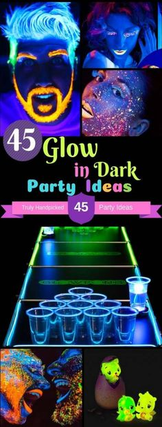 45 Glow in Dark Party Ideas: Neon Night Glow Party Food and Paint Ideas. DIY Neon Night Glow in the Dark Party Ideas from Experts on: Face Body and Hair painting, Nail Polish, Backdrop, Room Decor, Party Food and Craft Ideas Glow Party Food, Party Kulissen, Ideas Party, Diy Neon Party, Party Rock, Party Games, Neon Birthday, Birthday Party For Teens, Birthday Nails