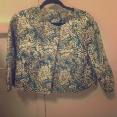 crop jacket floral pattern with metallicy accenting throughout and teal base Anthropologie Jackets & Coats Blazers