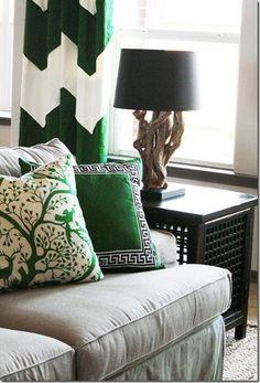 Emerald green piloows and chevron green and white draperies -i LOVE emerald green!