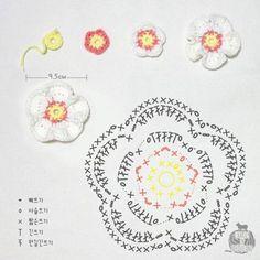 [무료도안]꽃과 잎 도안 [코바늘꽃] : 네이버 블로그 Crochet Jewelry Patterns, Crochet Flower Patterns, Crochet Mandala, Crochet Accessories, Crochet Motif, Crochet Diagram, Crochet Chart, Thread Crochet, Crochet Home