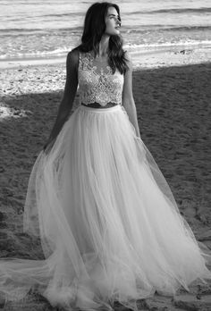 18258cd5d5 Romantic bohemian chic two piece summer wedding dress with lace top and  tulle skirt by Lihi