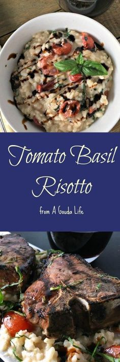 Tomato Basil Risotto paired with Grilled Lamb Chops (recipe from The Hungry Bluebird). Pin and save for BOTH recipes! Fine dining at home! (scheduled via http://www.tailwindapp.com?utm_source=pinterest&utm_medium=twpin&utm_content=post121899033&utm_campaign=scheduler_attribution)