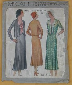 McCall 6430   1931 Ladies' & Misses' Dress & Eton
