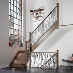 Iron Staircase Our New Opus Black Staircase Neville Johnson Interior Chic Loft Stairs Design With C. Staircase Banister Ideas, Metal Stair Railing, Stair Railing Design, Modern Staircase, Black Staircase, Metal Spindles, Banister Remodel, Balustrade Design, Wrought Iron Staircase