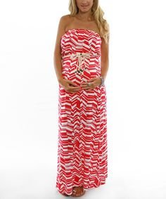 Red Belted Maternity Maxi