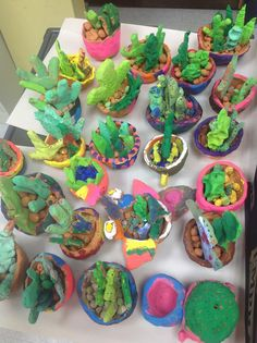 Mrs. Knight's Smartest Artists: Succulent plants in Mexican pots / also see Room 9 arts