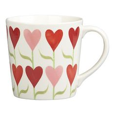 Pink and red heart flowers cup
