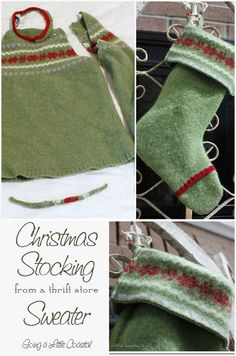 How to make a felted sweater Christmas stocking from a thrift store sweater. This stocking would make a fabulous gift and it's very frugal.