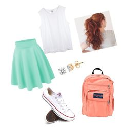 """""""School clothes for me"""" by swimmergurl1234 ❤ liked on Polyvore featuring Converse and JanSport"""