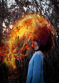Girl on Fire, photography, photoshop, hair flip, butterflies, fire