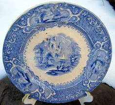 Antique White Blue Transferware Challinor Priory Saucer by ddb7, Etsy