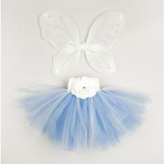 Ivory and Periwinkle Tutu Skirt with Wings